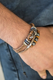 Paparazzi  Hello Hiker - Brown Leather - Urban Bracelet - Glitzygals5dollarbling Paparazzi Boutique
