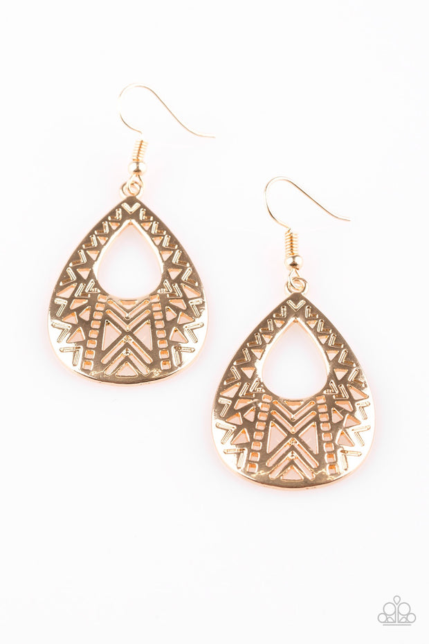 Alpha Amazon Teardrop Gold Earrings Paparazzi - Glitzygals5dollarbling Paparazzi Boutique