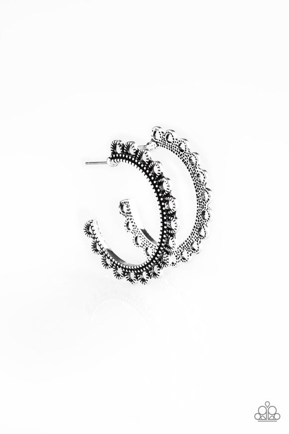 Paparazzi Bohemian Bliss Silver Hoop Earrings
