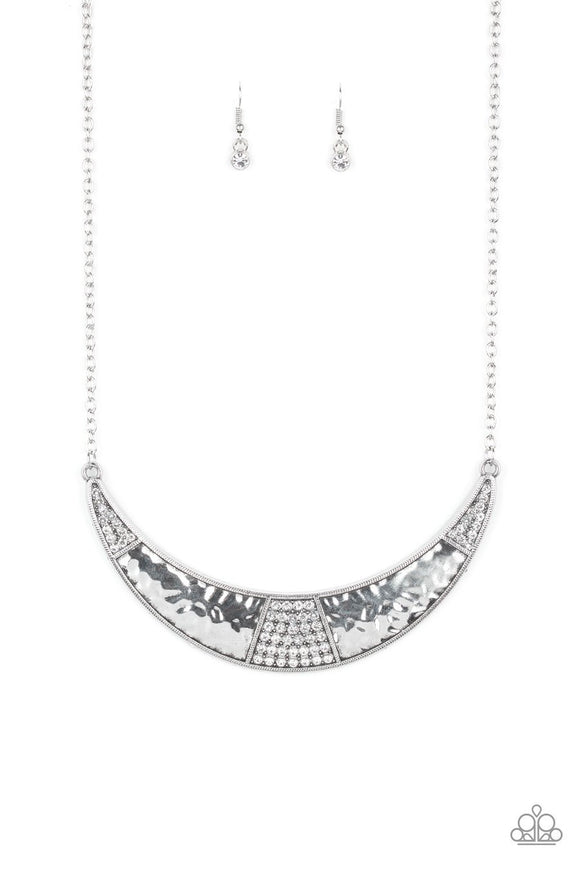 Paparazzi Stardust - White Rhinestones - Hammered Silver Necklace and matching Earrings