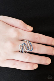 Paparazzi Make Waves - Blue Rhinestones - White Rhinestones Silver Ring
