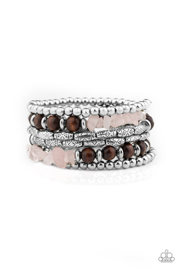 Paparazzi Soul Searchin - Pink - Stones, Wooden Beads - Coiled Wire Infinity Wrap - Bracelet