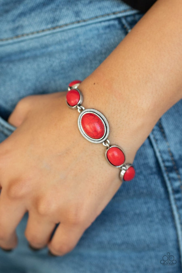 Paparazzi Serene Stonework - Red Stone - Adjustable Bracelet - Glitzygals5dollarbling Paparazzi Boutique