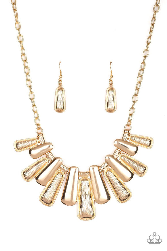 Paparazzi MANE Up - Gold - Blinding Fringe - Smooth and Etched Finish - Necklace and matching Earrings