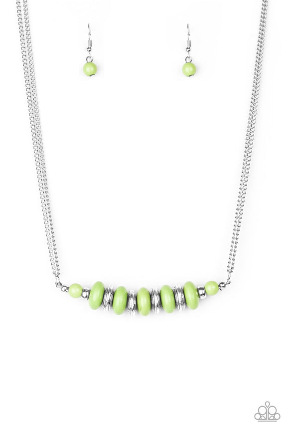 Paparazzi On Mountain Time - Green Necklace