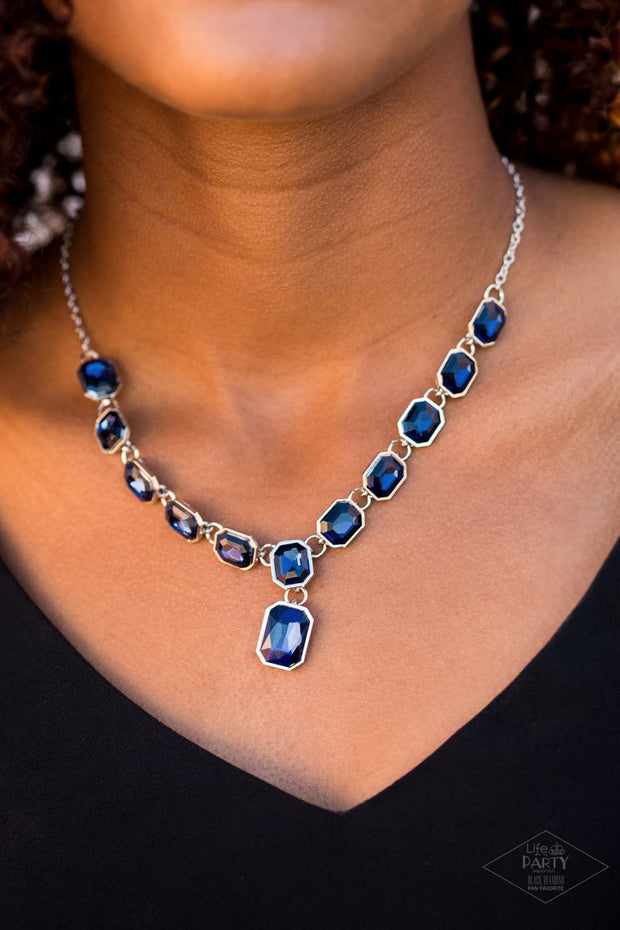 Paparazzi The Right To Remain Sparkly - Blue Gems - Silver Necklace and matching Earrings - Glitzygals5dollarbling Paparazzi Boutique