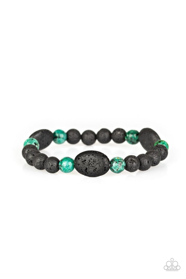 Paparazzi A Hundred and ZEN Percent - Green Stone - Black Lava Rock Bracelet - Glitzygals5dollarbling Paparazzi Boutique