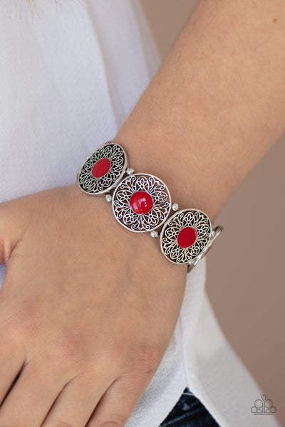 Paparazzi Painted Garden - Red Bracelet - Glitzygals5dollarbling Paparazzi Boutique