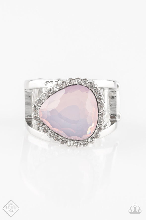 Paparazzi Just GLOW For It - Pink Gem - Silver Ring Exclusive Fashion Fix