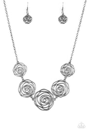 Paparazzi Rosy Rosette - Black Gunmetal - Necklace and matching Earrings - Glitzygals5dollarbling Paparazzi Boutique