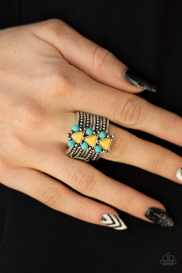 Paparazzi Point Me to Phoenix Yellow Turquoise Ring