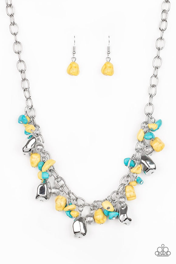 Paparazzi Quarry Trail - Yellow - Turquoise Beads - Silver Necklace and matching Earrings