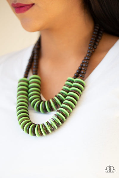 Paparazzi Dominican Disco - Green - Wooden Necklace and matching Earrings
