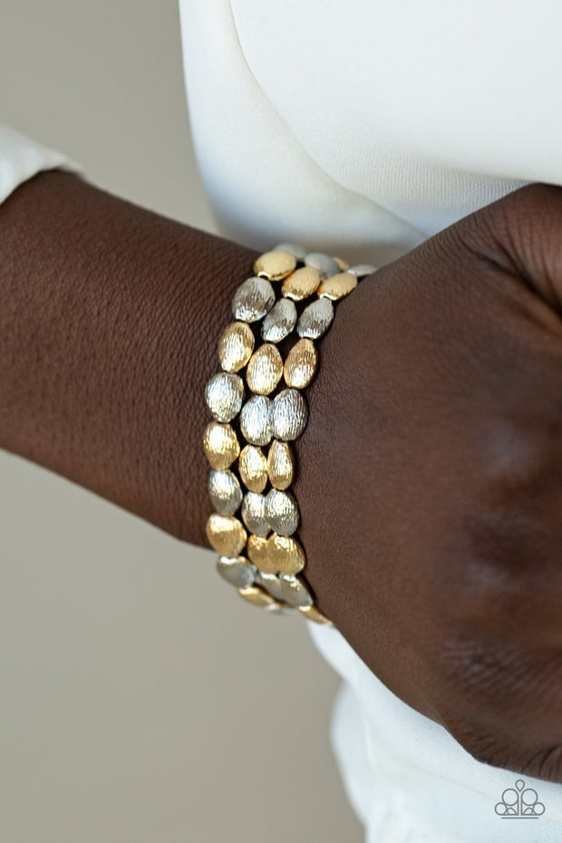 Paparazzi Basic Bliss Multi Gold and Silver Beads - Set of 3 Bracelets - Glitzygals5dollarbling Paparazzi Boutique