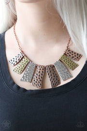 Paparazzi A Fan of the Tribe - Blockbuster - Necklace and matching Earrings - Glitzygals5dollarbling Paparazzi Boutique