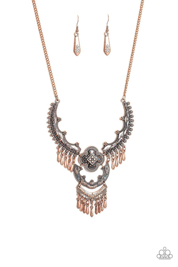 Paparazzi Rogue Vogue - Copper - Antiqued Plates Pendant - Necklace and matching Earrings