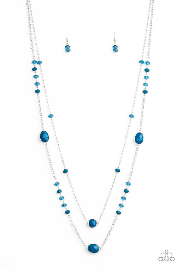 Paparazzi Dazzle The Crowd - Blue - Shimmery Silver Chains - Necklace and matching Earrings