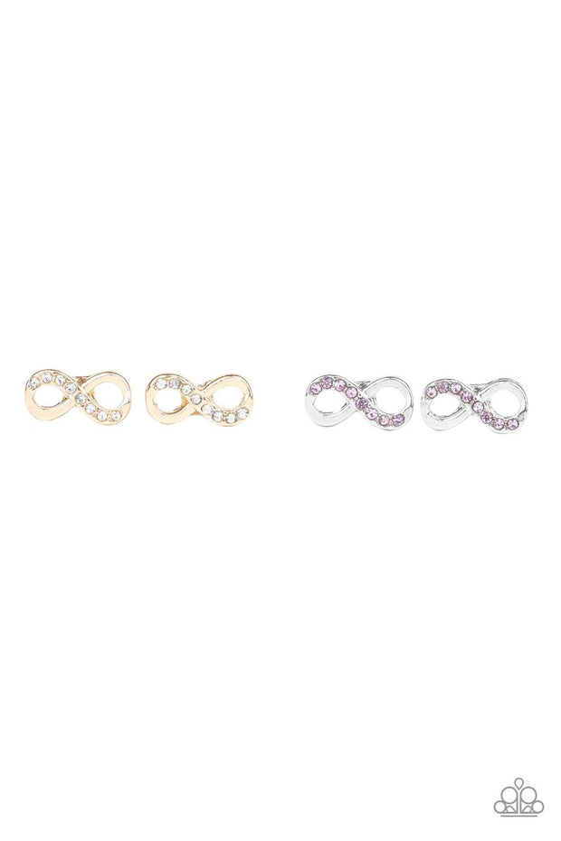 Paparazzi Starlet Shimmer Earrings - 10 - Infinity w/Rhinestones - Gold, Pink and Blue