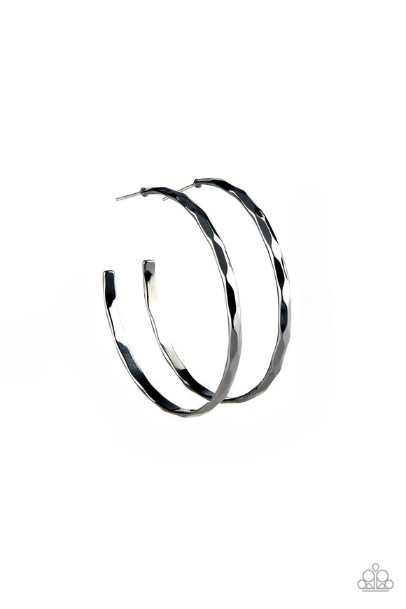 Paparazzi Geo Edge - Black - Hammered Gunmetal Hoop - Earrings