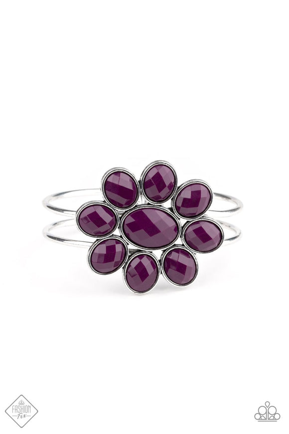 Paparazzi Petal Persuasion - Purple - Silver Hinged Bracelet - Fashion Fix / Trend Blend Exclusive January 2020
