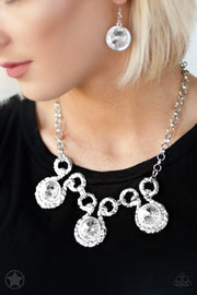 Paparazzi Hypnotized - Silver Rhinestones - Blockbuster Necklace and matching Earrings - Glitzygals5dollarbling Paparazzi Boutique