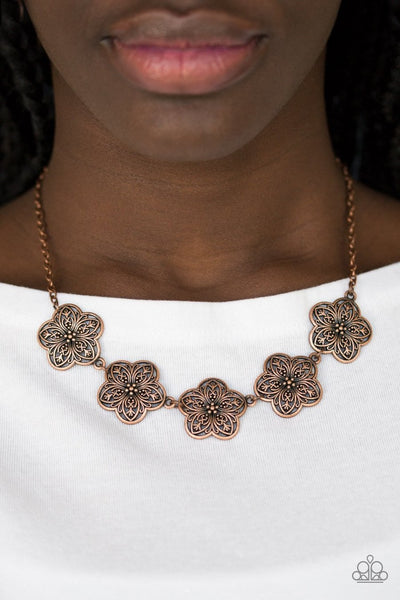 Garden Groove - copper - Paparazzi necklace - Glitzygals5dollarbling Paparazzi Boutique