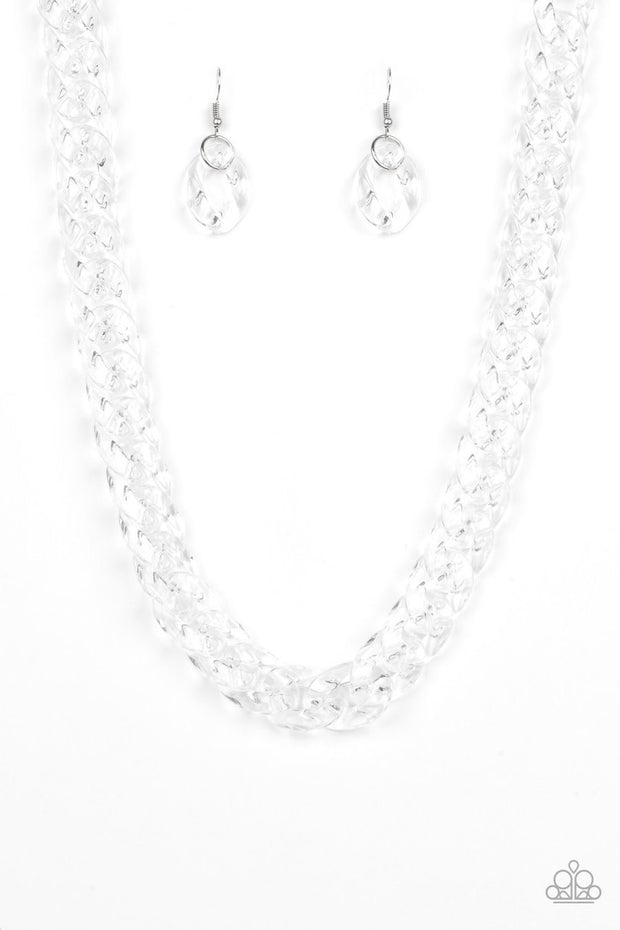 "Paparazzi ""Put It On Ice"" White Glassy Acrylic Necklace - Glitzygals5dollarbling Paparazzi Boutique"