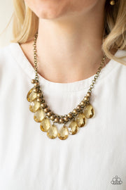 Paparazzi Fashionista Flair - Brass - Necklace & Earrings - Glitzygals5dollarbling Paparazzi Boutique