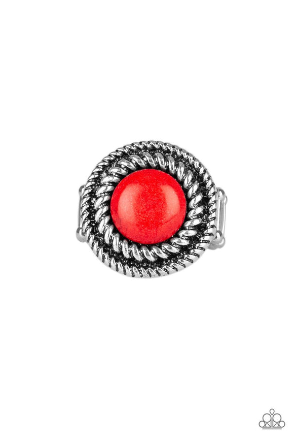Paparazzi Rare Minerals - Red Stone - Silver Twisted Rope - Ring