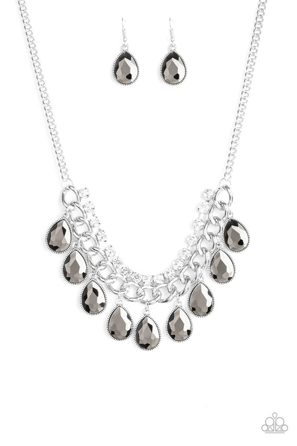 Paparazzi All Toget-HEIR Now - Silver - Teardrop Rhinestones - Bold Silver Chain - Necklace and matching Earrings