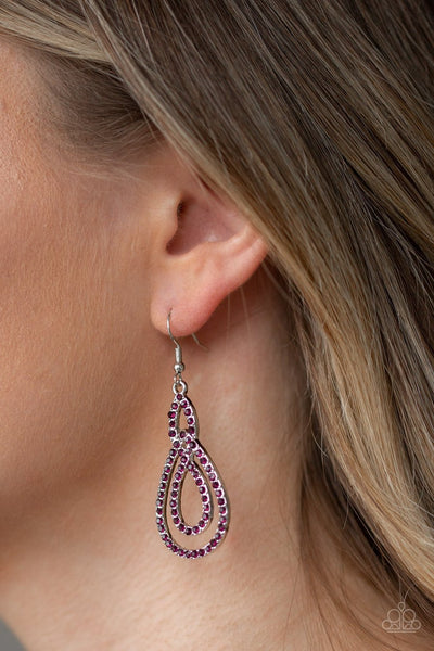 Paparazzi Sassy Sophistication - Purple - Rhinestones - Silver Loop - Earrings
