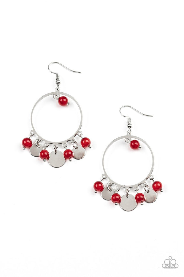 Paparazzi Bubbly Buoyancy - Red - Shimmery Silver Hoop - Earrings