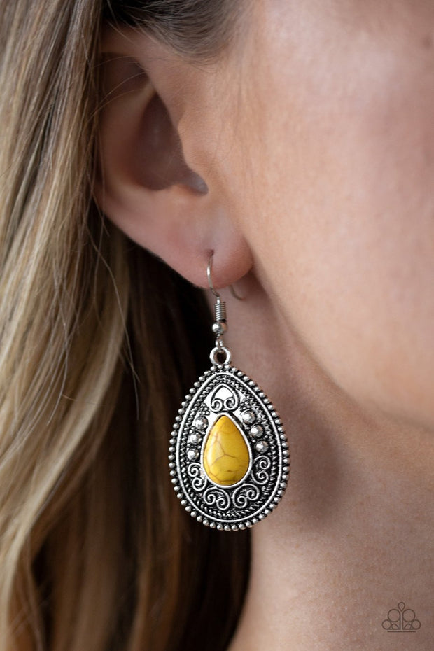 Paparazzi Desert Nirvana - Yellow Stone - Teardrop Antiqued Filigree - Earrings