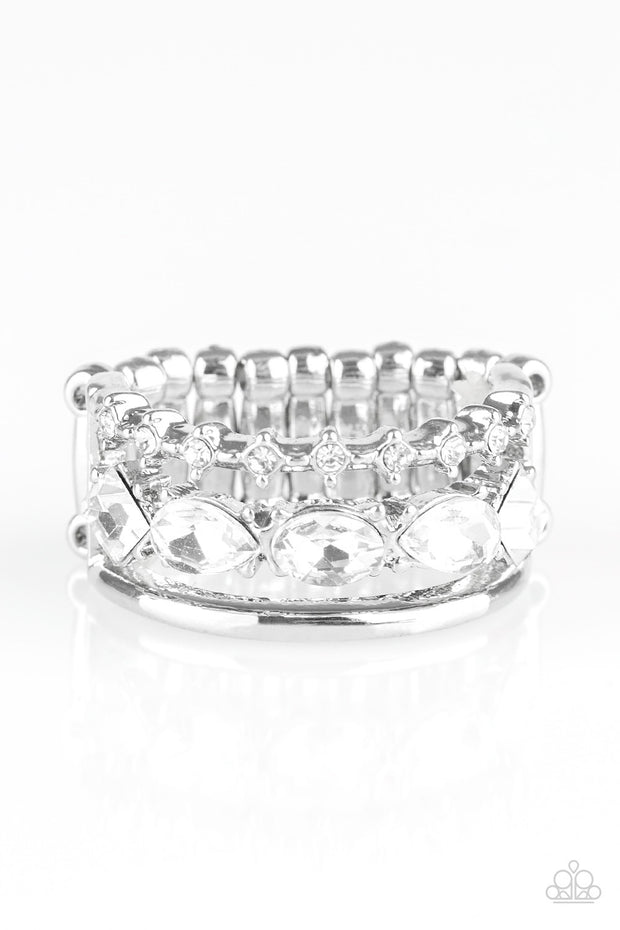 Backstage Sparkle White Ring Paparazzi - Glitzygals5dollarbling Paparazzi Boutique