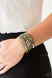 Paparazzi Back To BACKPACKER - Green Suede - Silver Beads - Bracelet - Glitzygals5dollarbling Paparazzi Boutique
