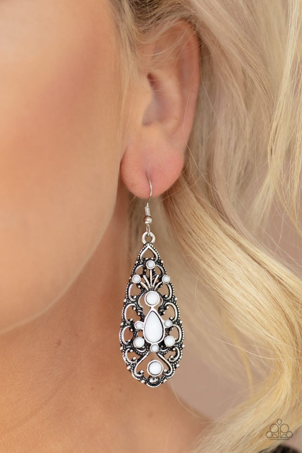 Fantastically Fanciful - white - Paparazzi earrings