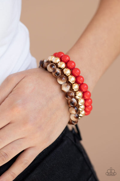 Paparazzi Courageously Couture Red Set of three Bracelets - Glitzygals5dollarbling Paparazzi Boutique