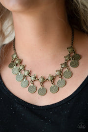 Paparazzi Walk The Plank - Brass - Coin Like Discs - Necklace & Earrings