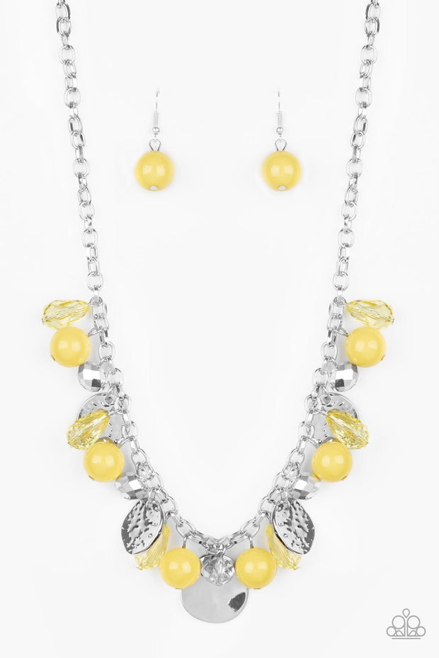 Paparazzi Prismatic Sheen - Yellow - Hammered Silver Discs - Necklace & Earrings