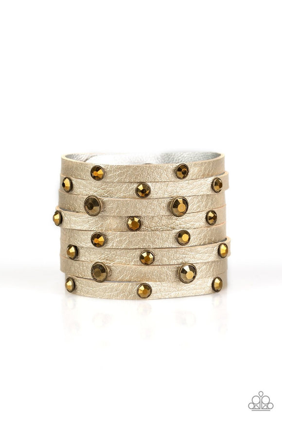 Paparazzi Go-Getter Glamorous - Brass Aurum Rhinestones - Thick Leather Band - Bracelet