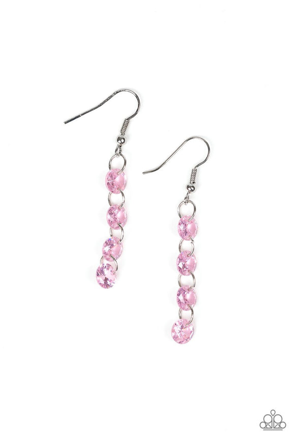 Paparazzi Trickle-Down Effect - Pink Prisms - Silver Link - Earrings