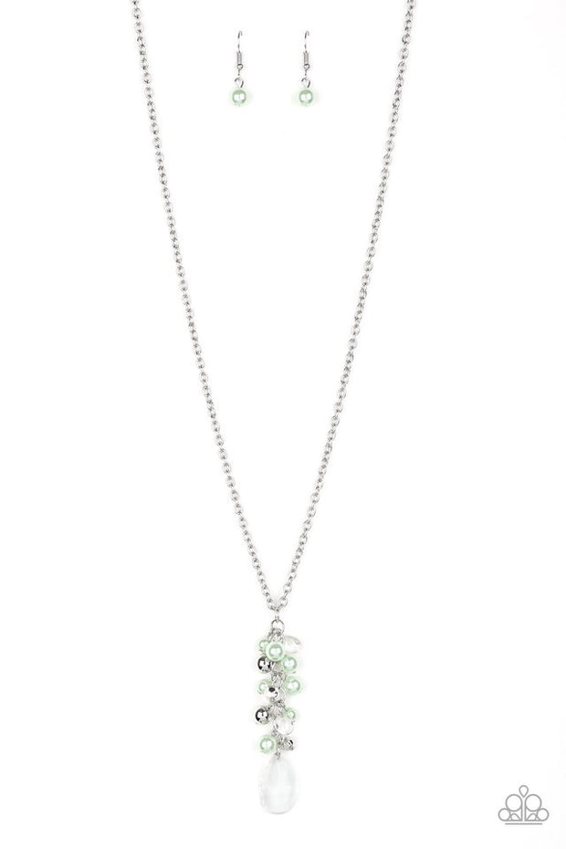 PAPARAZZI TEARDROP SERENITY - GREEN Necklace - Glitzygals5dollarbling Paparazzi Boutique