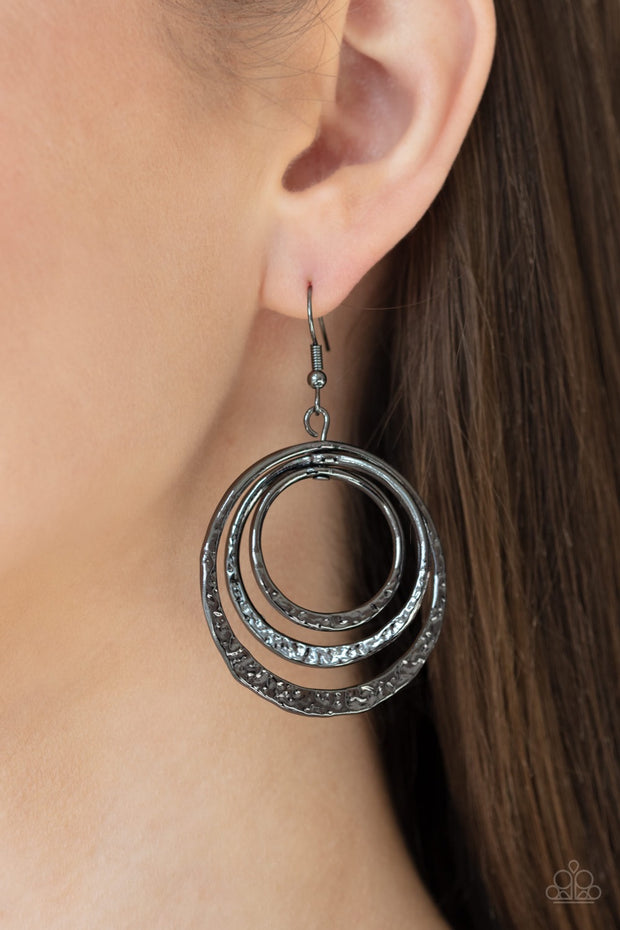 Paparazzi Metallic Ruffle - Black Hammered Earrings