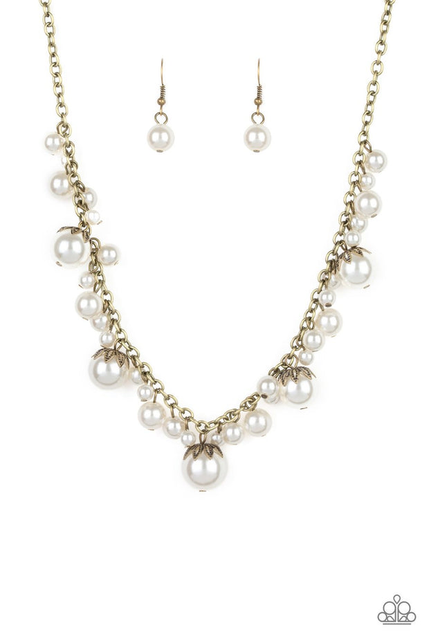 Uptown Pearls - brass - Paparazzi necklace - Glitzygals5dollarbling Paparazzi Boutique