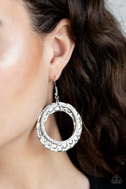 Paparazzi Cinematic Shimmer - White Rhinestones - Silver Thick Hoop - Earrings - Life of the Party Exclusive September 2019 - Glitzygals5dollarbling Paparazzi Boutique
