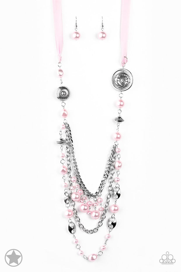 Paparazzi All The Trimmings - Pink Blockbuster Necklace and matching Earrings - Glitzygals5dollarbling Paparazzi Boutique
