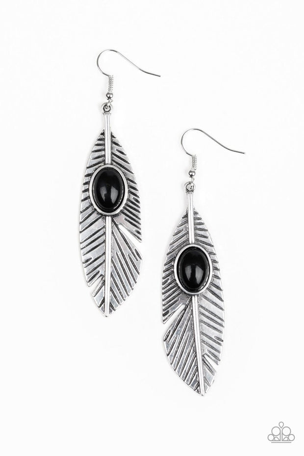 Paparazzi Paparazzi Quill Thrill - Black Bead - Silver Feather Earrings - Glitzygals5dollarbling Paparazzi Boutique
