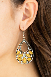 Paparazzi Dewy Dazzle Yellow Moonstone Earrings