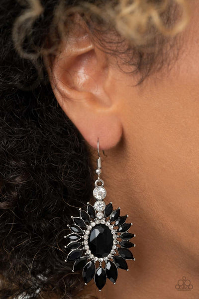 "Paparazzi Big Time Twinkle – Black"" Exclusive Rhinestones Earrings"
