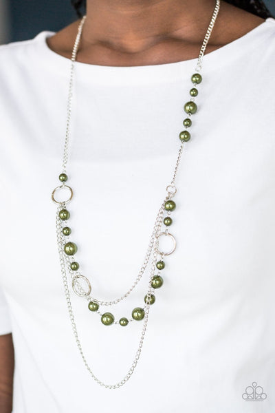Paparazzi Party Dress Princess - Green Beads - Silver Hoops - Necklace and matching Earrings - Glitzygals5dollarbling Paparazzi Boutique